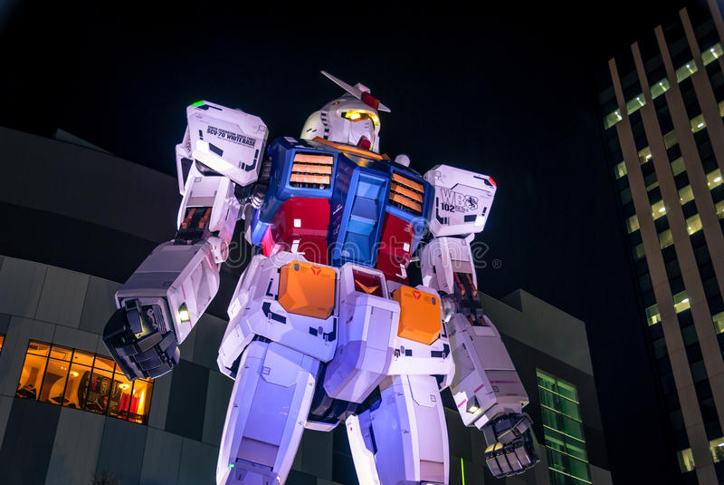 Géant Gundam dans Odaiba image libre de droits