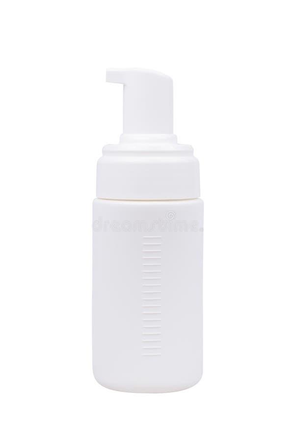 Gélifiez la bouteille blanche en plastique de pompe de distributeur de mousse ou de savon liquide sur le fond blanc photographie stock
