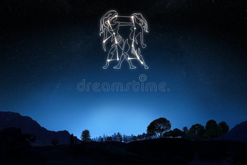 Gémeaux de signe de zodiaque image libre de droits