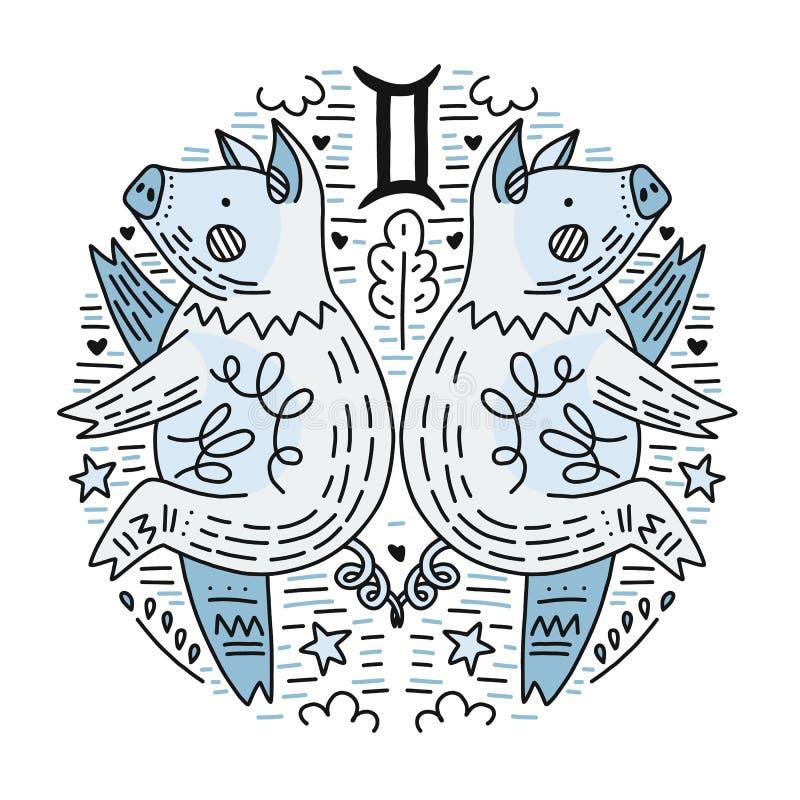 Gémeaux de Signes de zodiaque illustration libre de droits