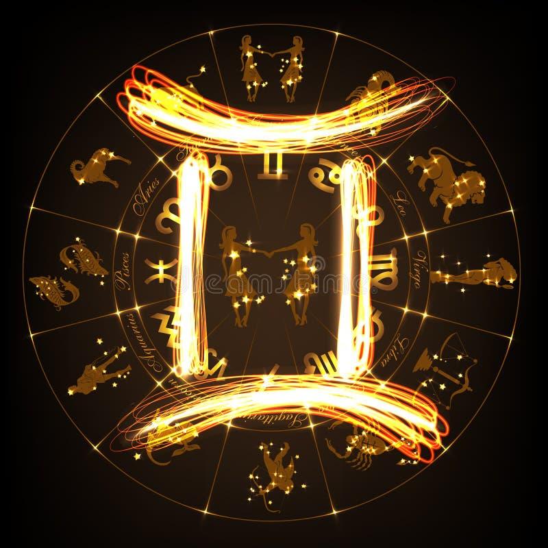 Géminis de la muestra del zodiaco ilustración del vector