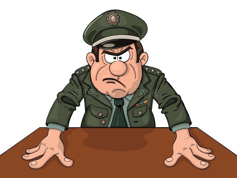 Général militaire fâché illustration de vecteur
