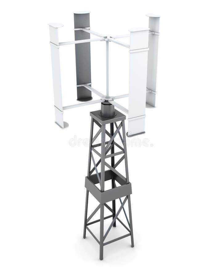 Générateur actionné par le vent de l'électricité rendu 3d illustration de vecteur