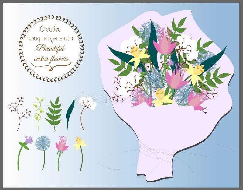 Générateur créatif de bouquet Ensemble de fleurs de vecteur illustration de vecteur