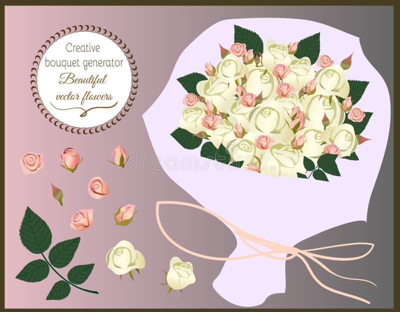 Générateur créatif de bouquet Ensemble de fleurs de vecteur illustration stock