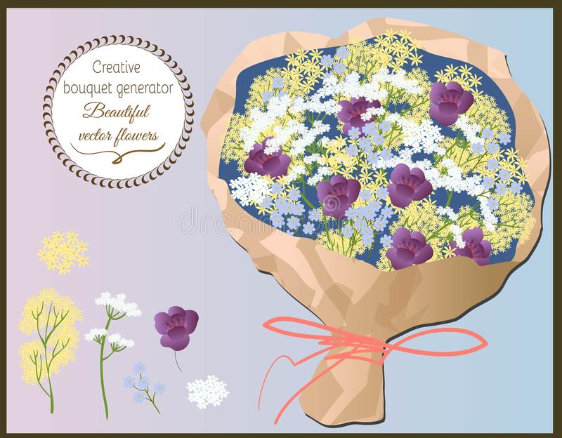 Générateur créatif de bouquet Ensemble de wildflowers de vecteur illustration de vecteur