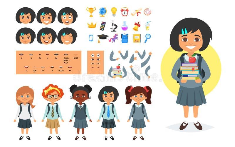 Générateur de caractères de fille d'école illustration de vecteur