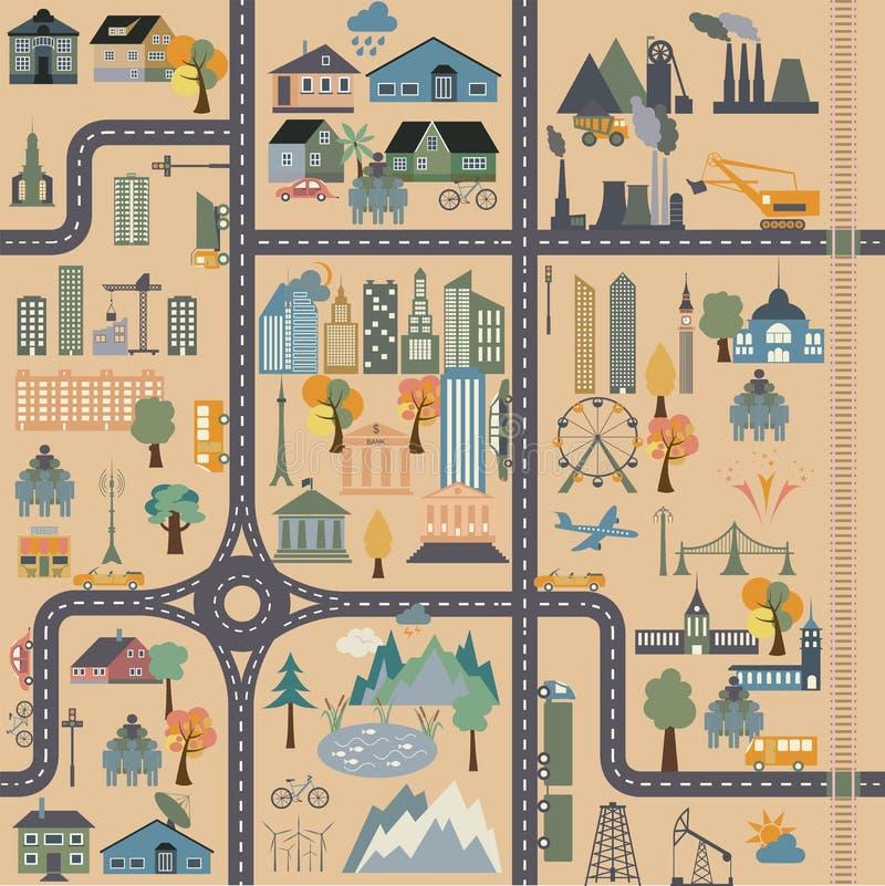 Générateur de carte de ville Exemple de carte de ville illustration libre de droits