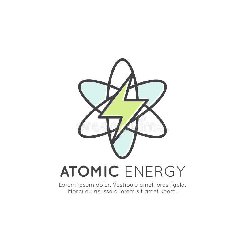 Générateur de station d'énergie atomique, illustration d'isolement de style d'icône de vecteur illustration de vecteur