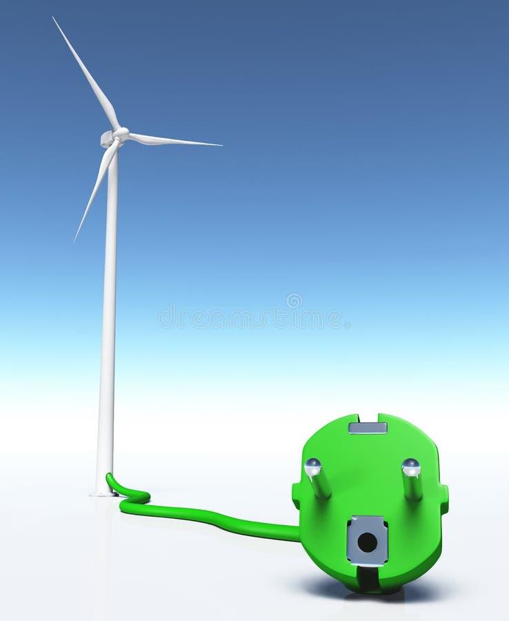 Générateur de vent avec une prise verte illustration de vecteur
