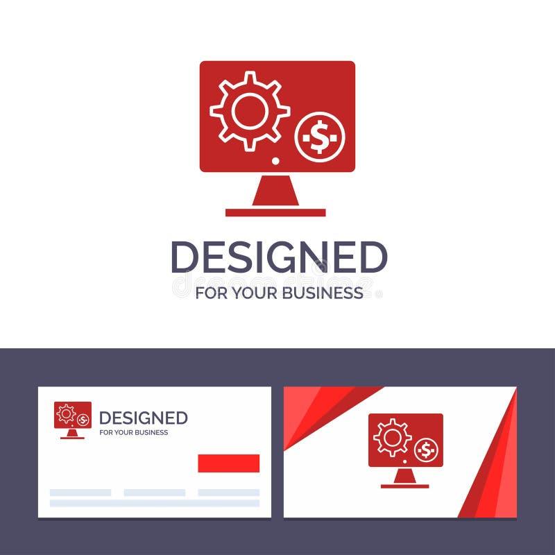 Générateur de visite de calibre créatif de carte de visite professionnelle et de logo, moniteur, écran, arrangement, vitesse, ill illustration de vecteur