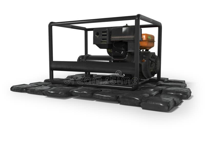 Générateur diesel noir sur les pierres 3d rendre sur le fond blanc avec l'ombre illustration de vecteur