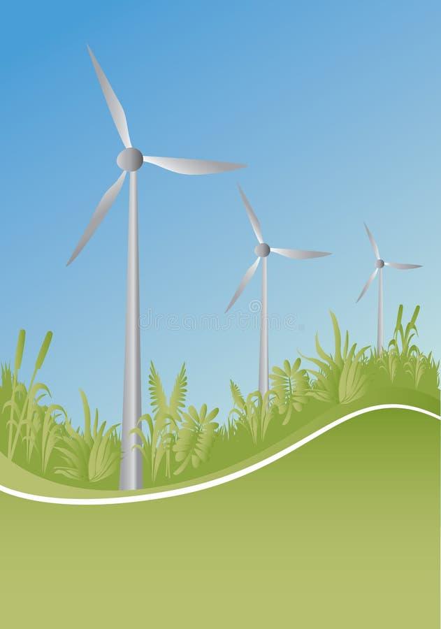Générateur et centrales de vent illustration libre de droits