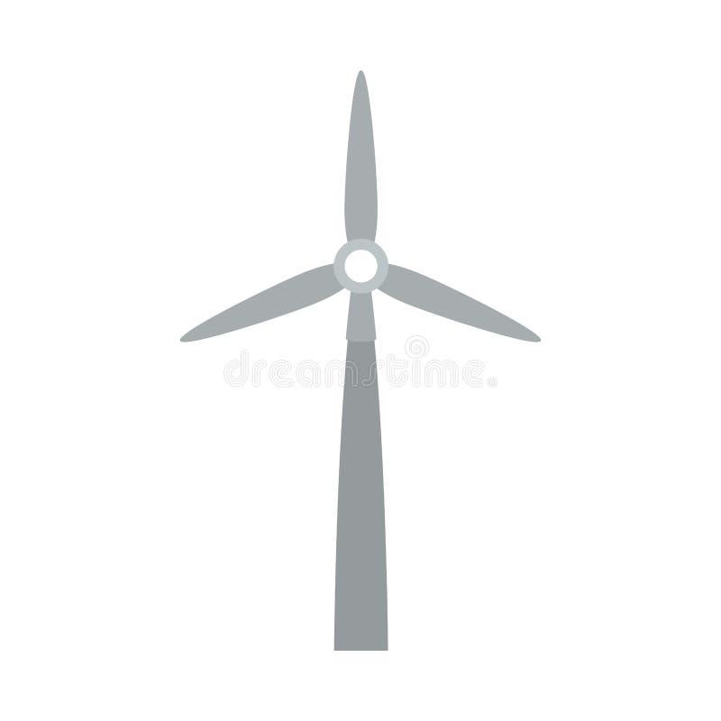 Générateur gris d'énergie éolienne de silhouette illustration libre de droits