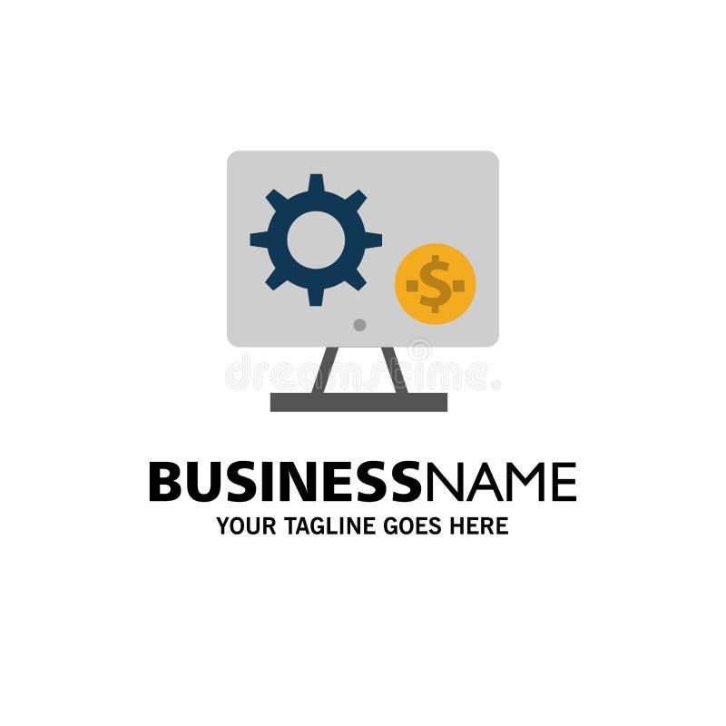 Générateur, moniteur, écran, arrangement, vitesse, affaires d'argent Logo Template couleur plate illustration stock