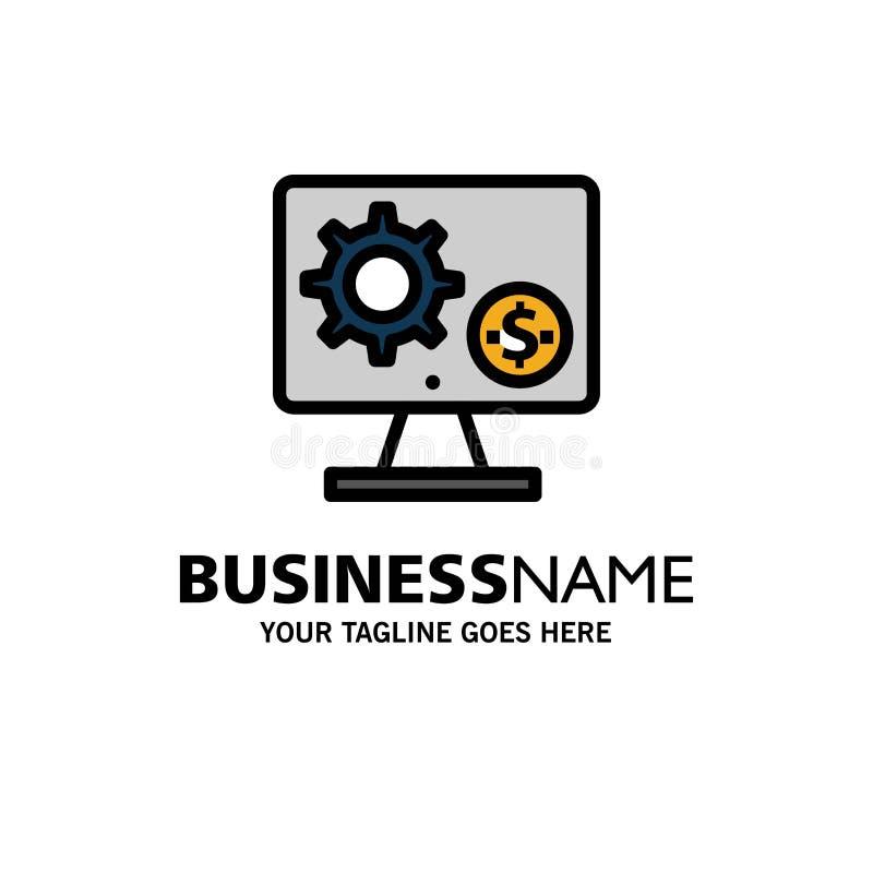 Générateur, moniteur, écran, arrangement, vitesse, affaires d'argent Logo Template couleur plate illustration libre de droits