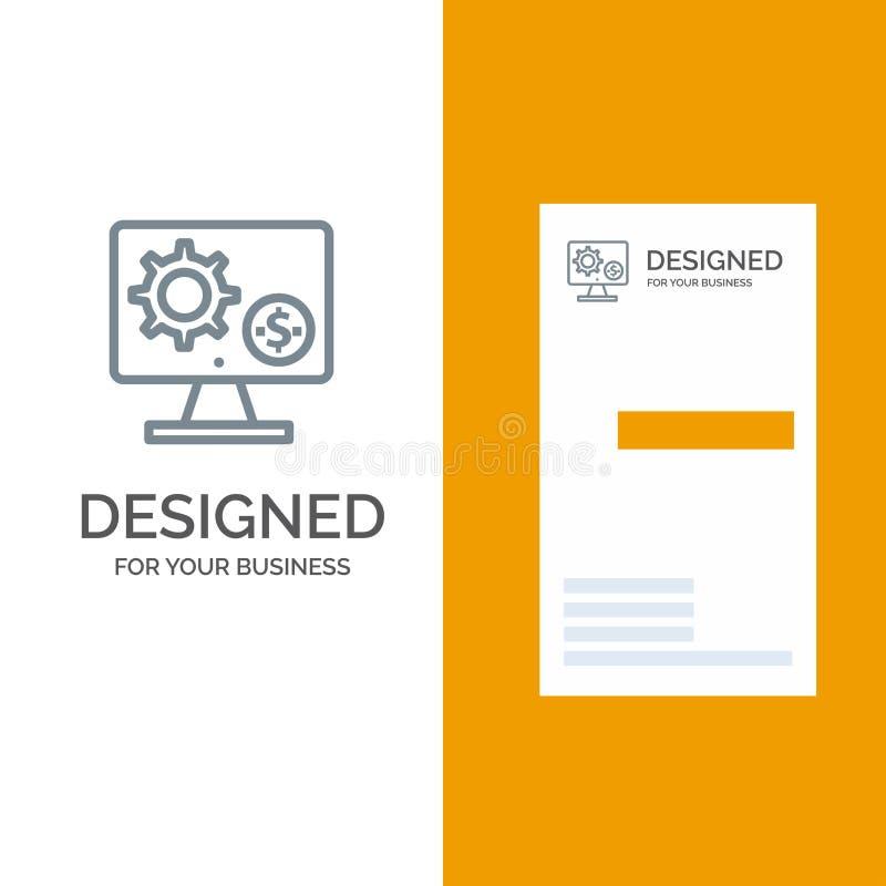 Générateur, moniteur, écran, arrangement, vitesse, argent Grey Logo Design et calibre de carte de visite professionnelle de visit illustration de vecteur