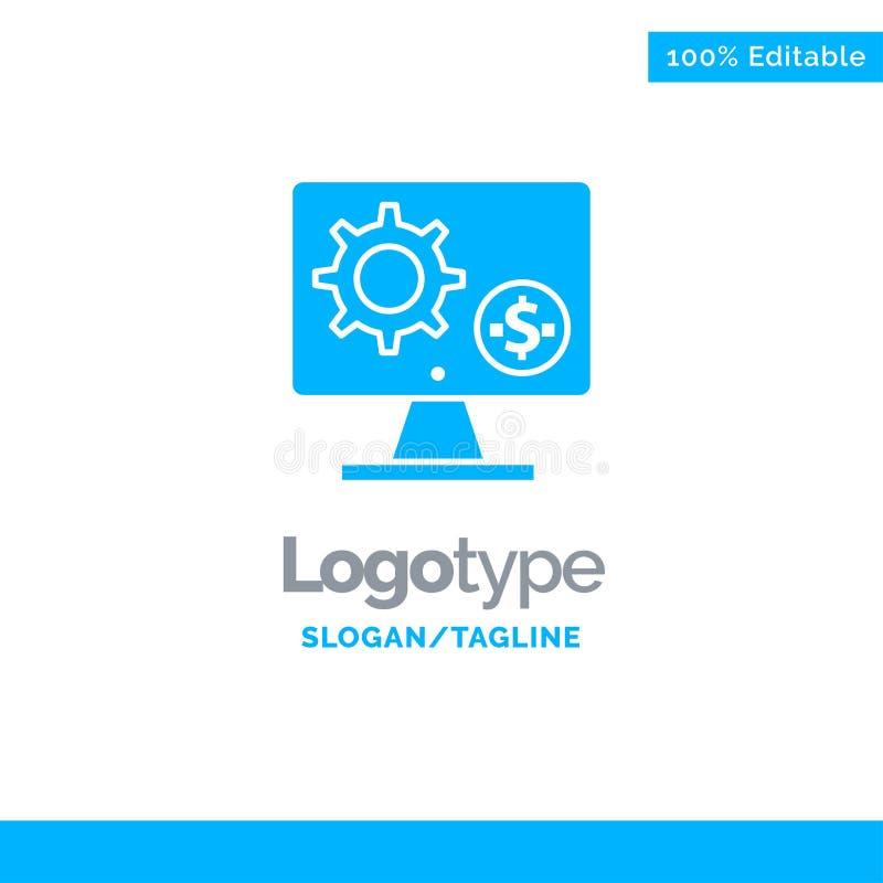 Générateur, moniteur, écran, arrangement, vitesse, argent Logo Template solide bleu Endroit pour le Tagline illustration de vecteur
