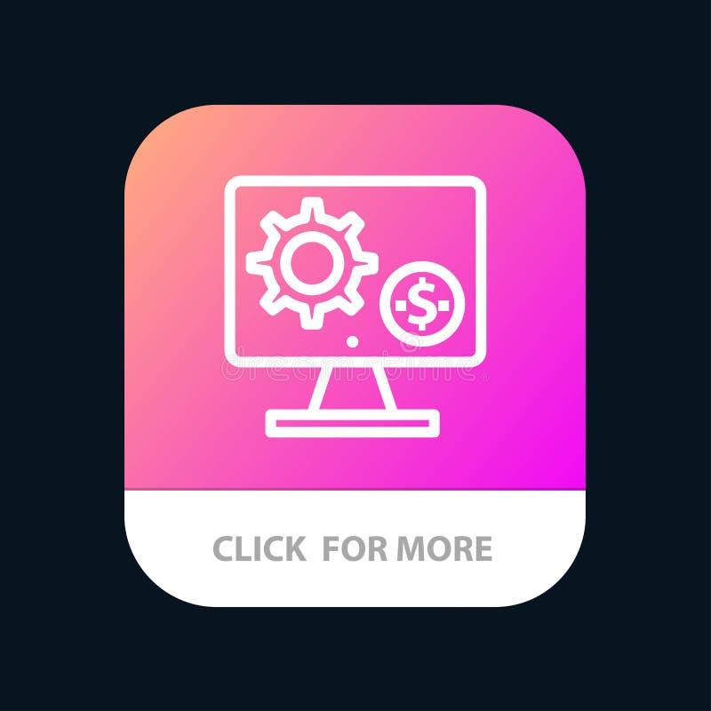 Générateur, moniteur, écran, arrangement, vitesse, bouton mobile d'appli d'argent Android et ligne version d'IOS illustration de vecteur
