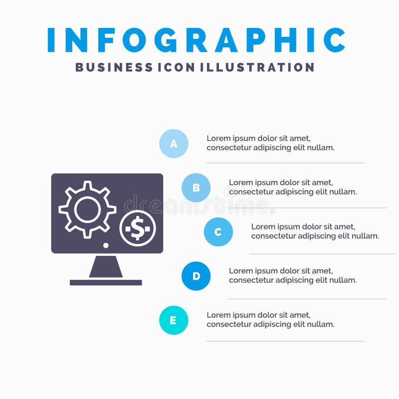 Générateur, moniteur, écran, arrangement, vitesse, fond solide de présentation d'étapes d'Infographics 5 d'icône d'argent illustration de vecteur