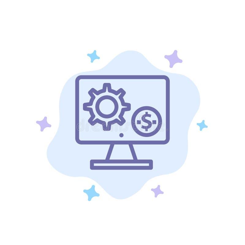 Générateur, moniteur, écran, arrangement, vitesse, icône bleue d'argent sur le fond abstrait de nuage illustration de vecteur