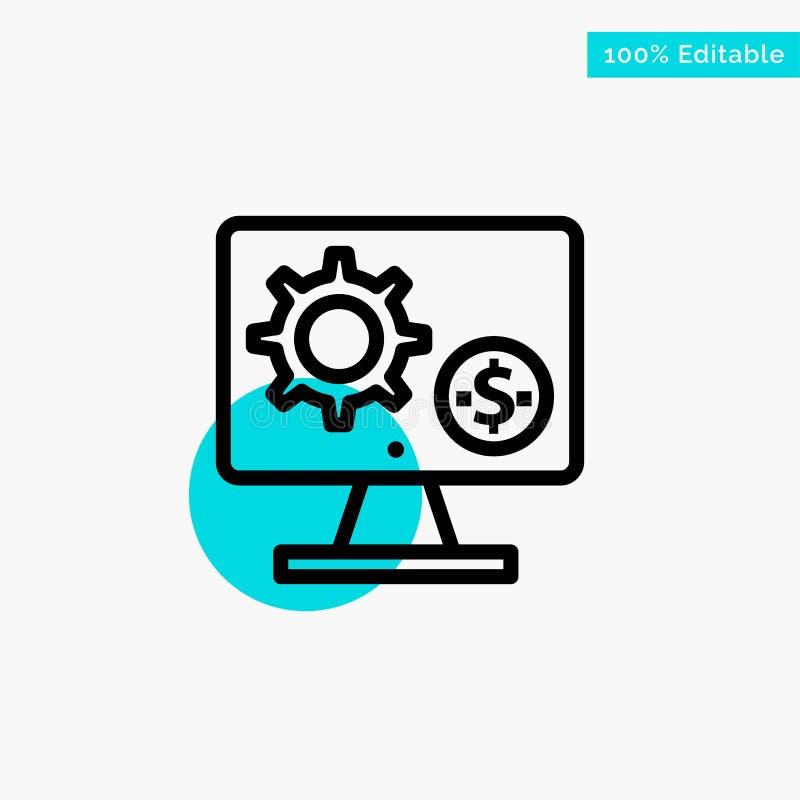 Générateur, moniteur, écran, arrangement, vitesse, icône de vecteur de point de cercle de point culminant de turquoise d'argent illustration libre de droits