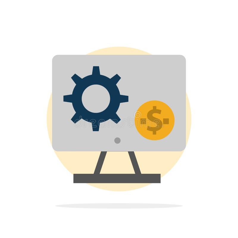 Générateur, moniteur, écran, arrangement, vitesse, icône plate de couleur de fond abstrait de cercle d'argent illustration stock