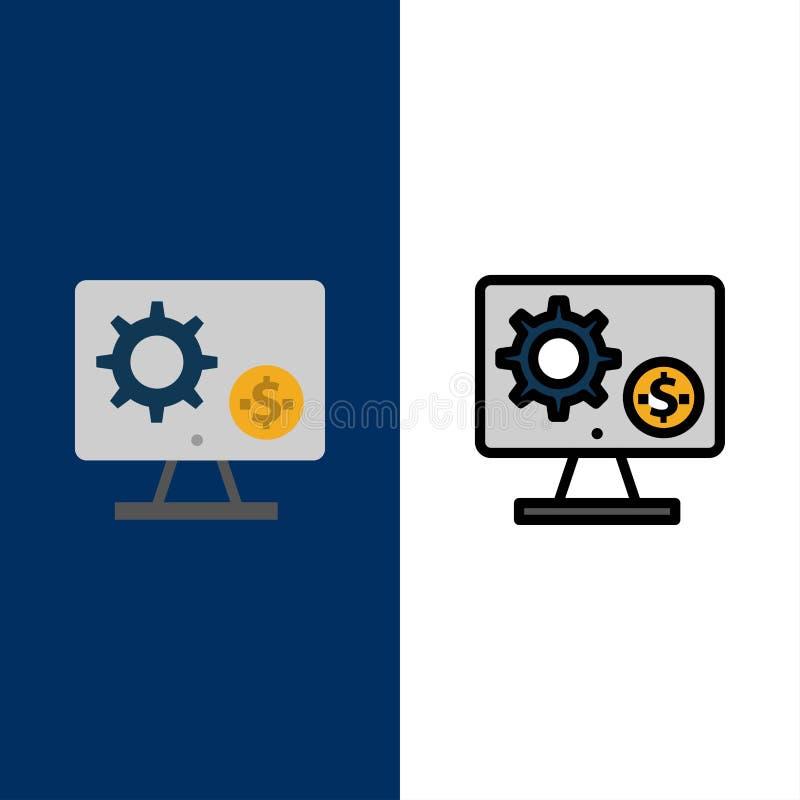 Générateur, moniteur, écran, arrangement, vitesse, icônes d'argent L'appartement et la ligne icône remplie ont placé le fond bleu illustration de vecteur
