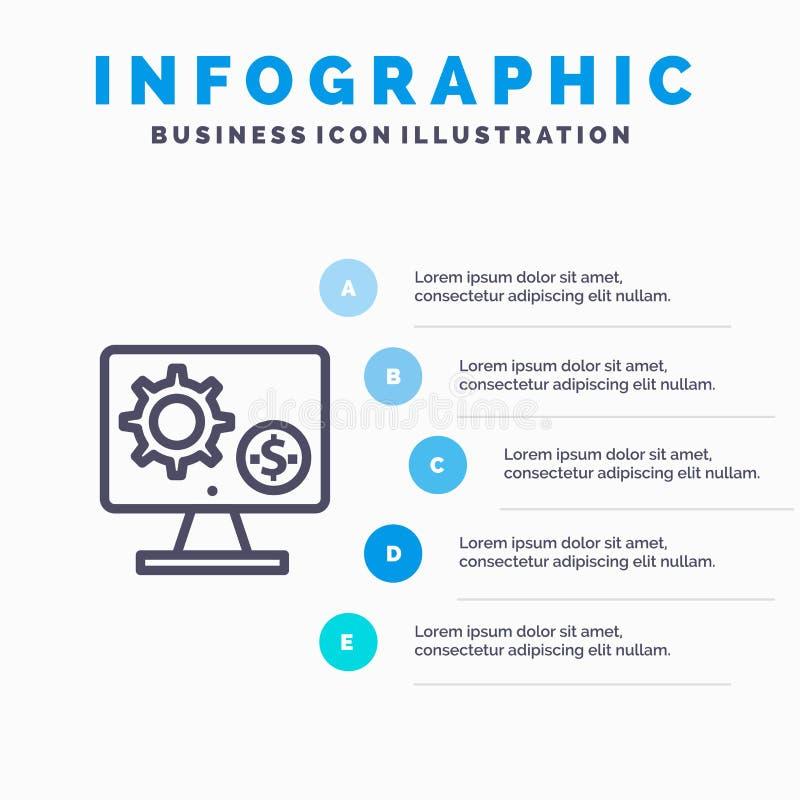 Générateur, moniteur, écran, arrangement, vitesse, ligne icône d'argent avec le fond d'infographics de présentation de 5 étapes illustration stock