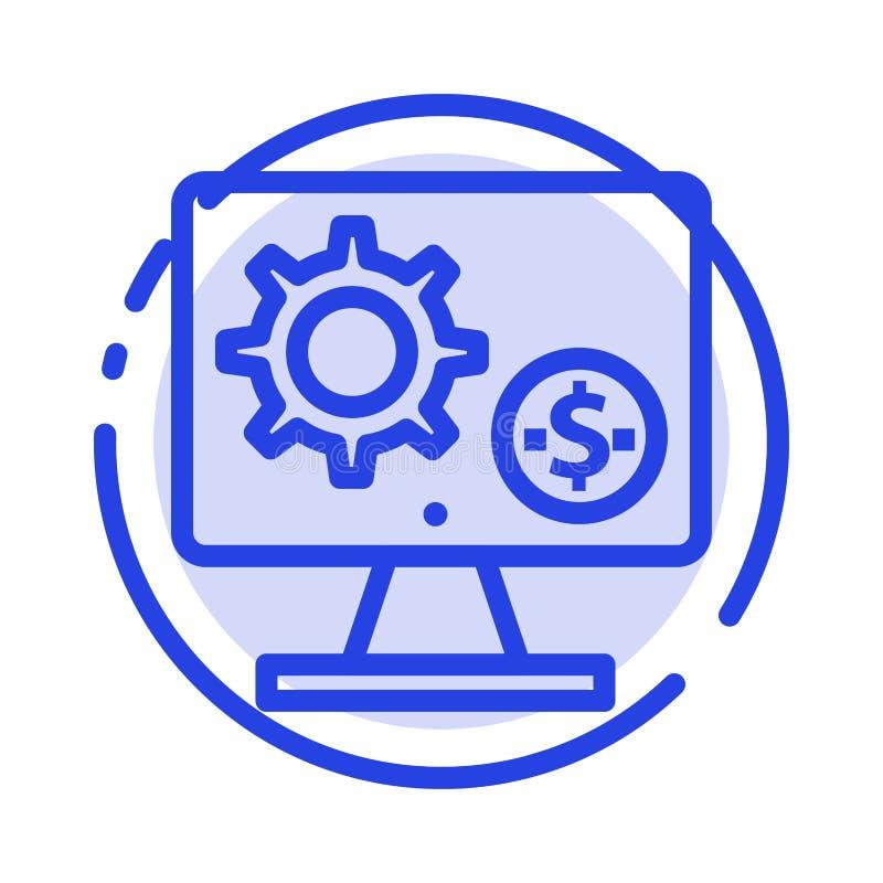 Générateur, moniteur, écran, arrangement, vitesse, ligne pointillée bleue ligne icône d'argent illustration de vecteur