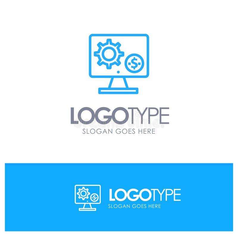 Générateur, moniteur, écran, arrangement, vitesse, logo bleu d'ensemble d'argent avec l'endroit pour le tagline illustration de vecteur