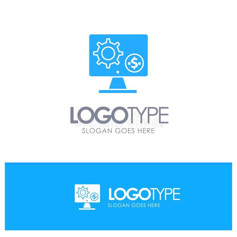 Générateur, moniteur, écran, arrangement, vitesse, logo solide bleu d'argent avec l'endroit pour le tagline illustration libre de droits