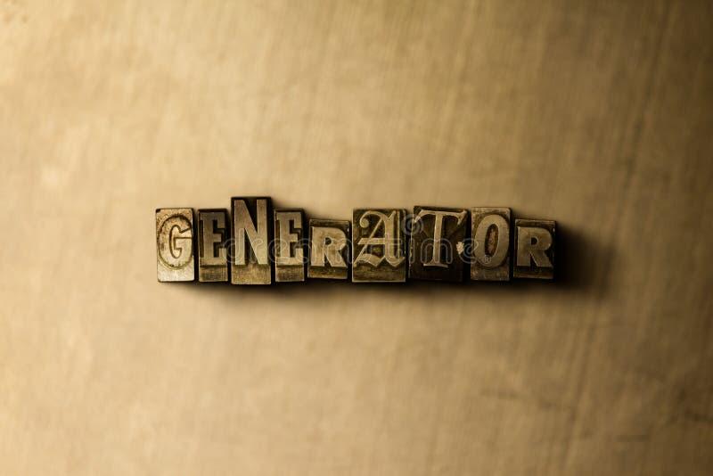 GÉNÉRATEUR - plan rapproché de mot composé par vintage sale sur le contexte en métal illustration stock
