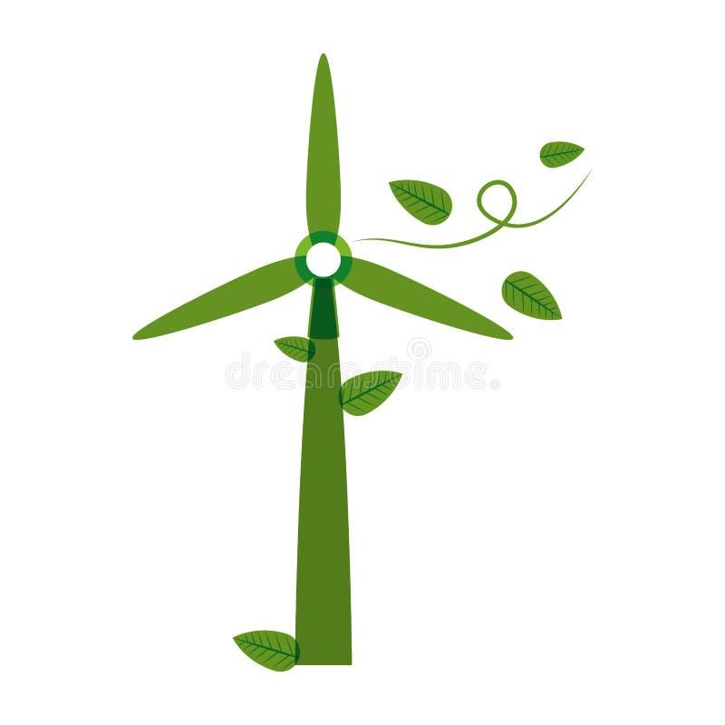 Générateur vert d'énergie éolienne de silhouette avec des feuilles illustration libre de droits