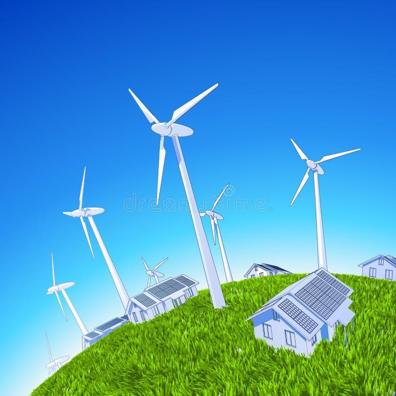 Générateurs et maisons de vent illustration de vecteur
