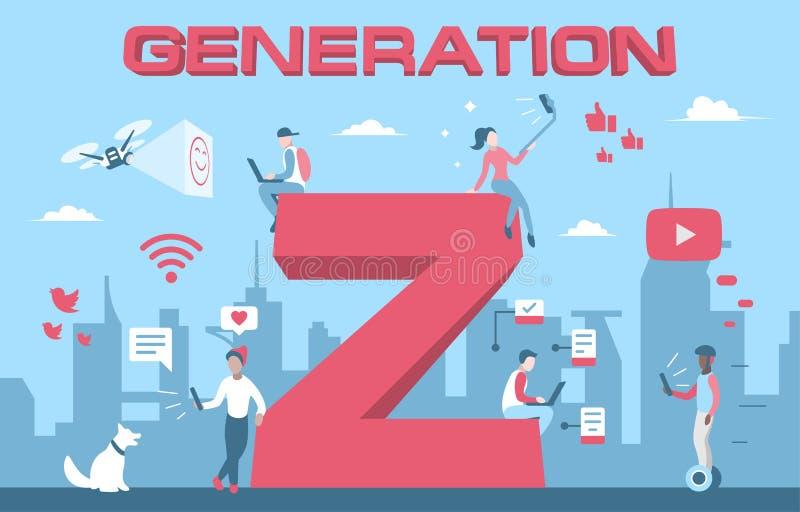 Génération colorée Z d'illustration de vecteur des jeunes illustration stock