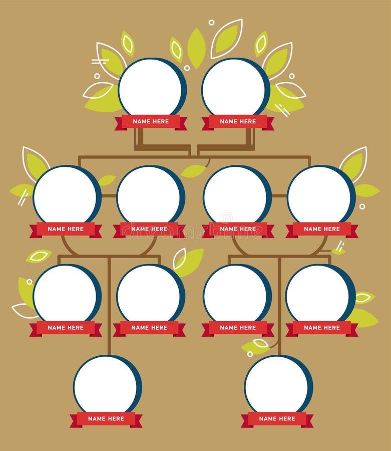 Génération d'arbre généalogique, icônes vides illustration stock