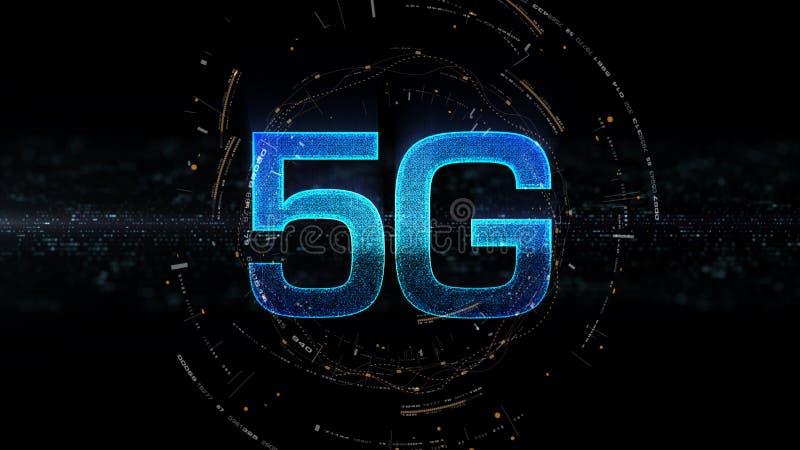 génération innovatrice à grande vitesse sans fil numérique de l'icône 5G cinquième illustration libre de droits