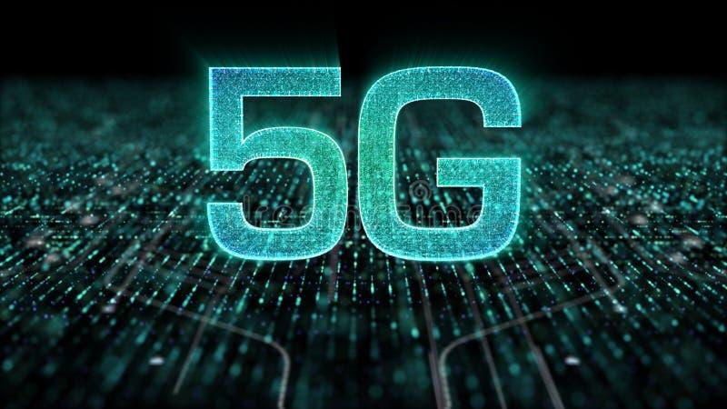 génération innovatrice à grande vitesse sans fil numérique de l'icône 5G cinquième illustration de vecteur