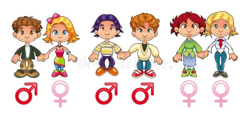 Género - pares ilustración del vector