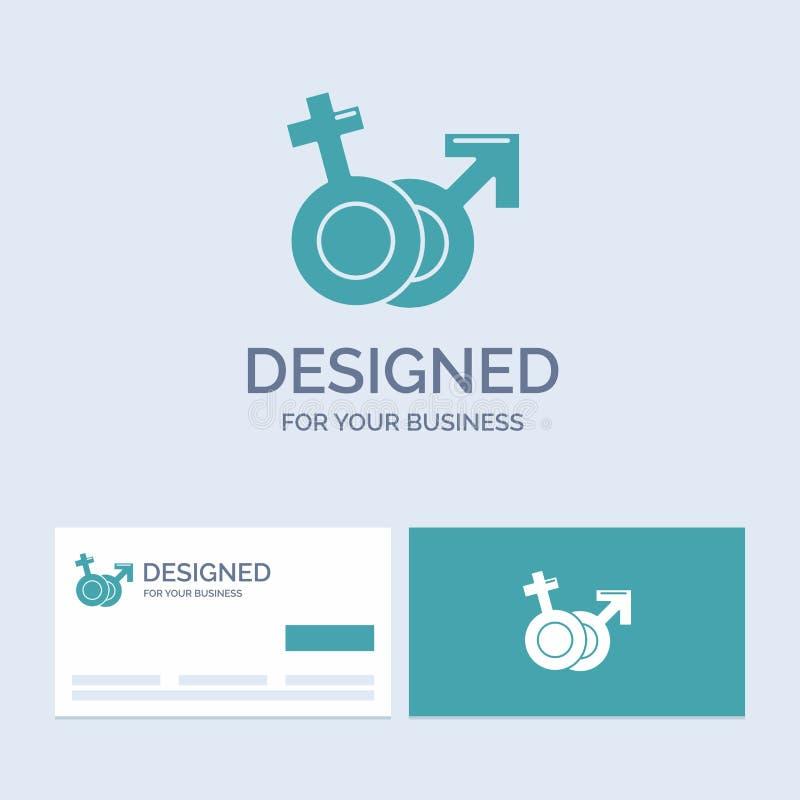 Género, Venus, Marte, negocio masculino, femenino Logo Glyph Icon Symbol para su negocio Tarjetas de visita de la turquesa con el libre illustration