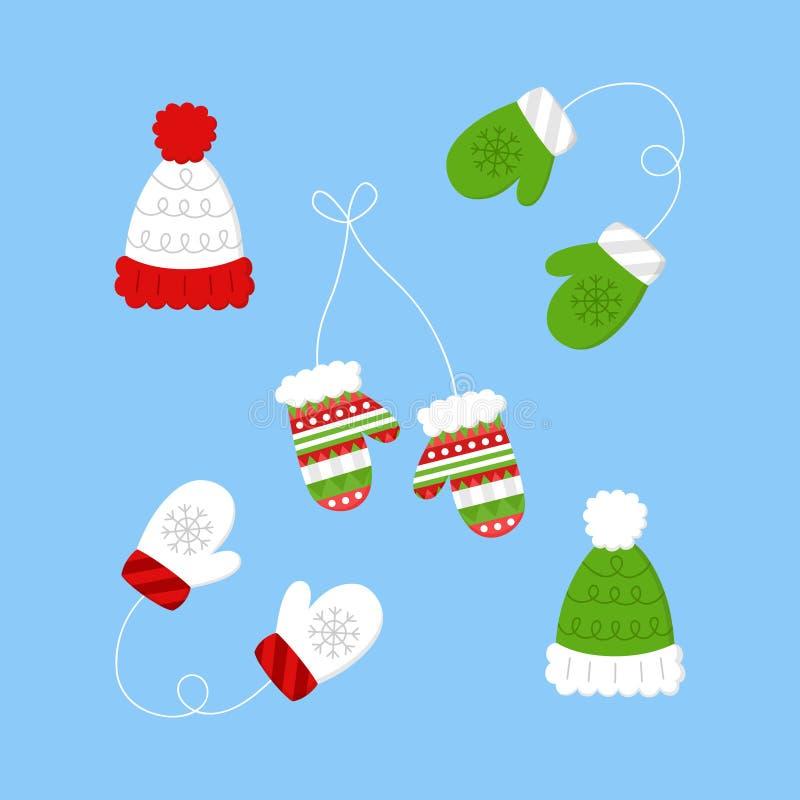 Géneros de punto del invierno, ejemplos del vector de la ropa libre illustration