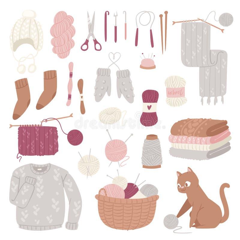 Géneros de punto de las lanas de las agujas que hacen punto o suéter hecho punto y gatito de lana con la bola lanosa que tejen a  ilustración del vector