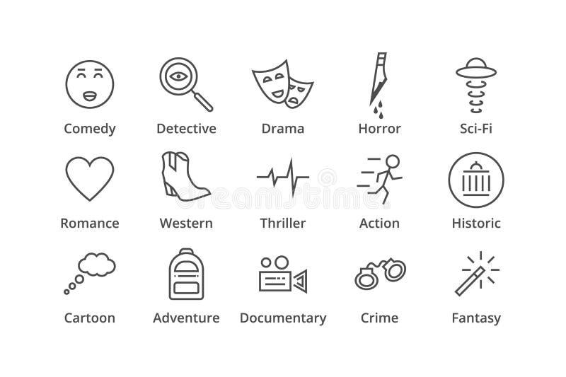 géneros Incluya el detective, la comedia, la ciencia ficción etc libre illustration