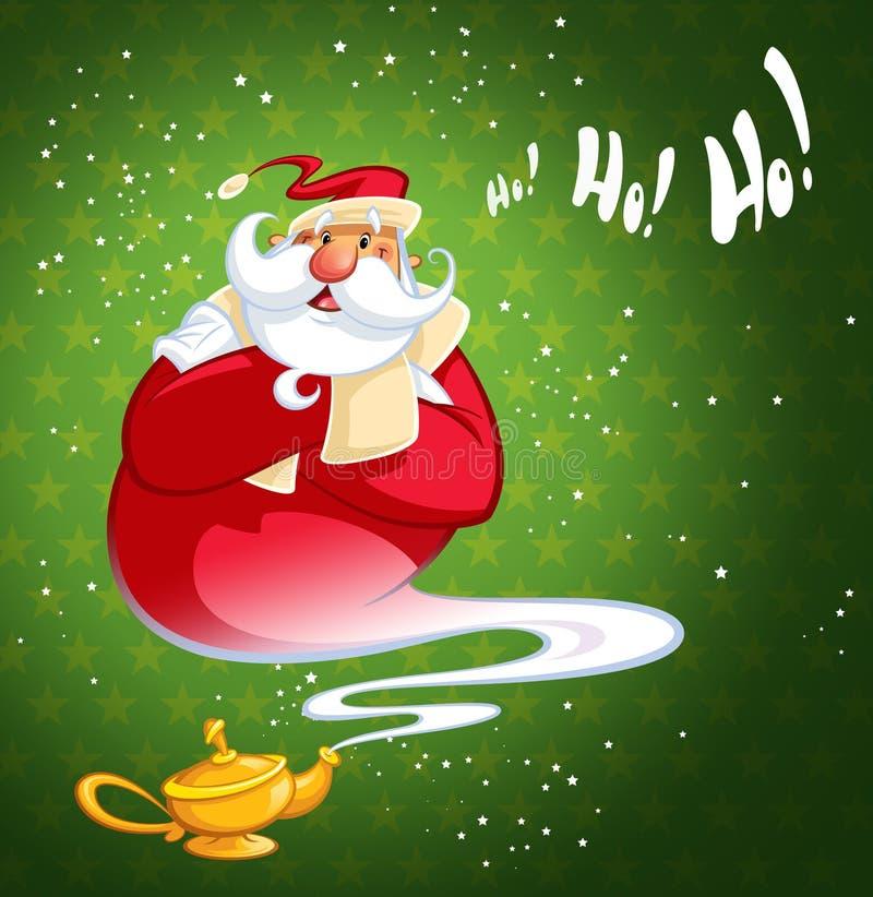 Génies riants heureux Santa Claus de bande dessinée sortant d'une magie o illustration stock