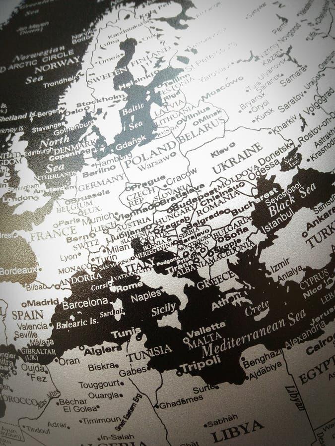 Géographie de la carte du monde en noir et blanc images libres de droits