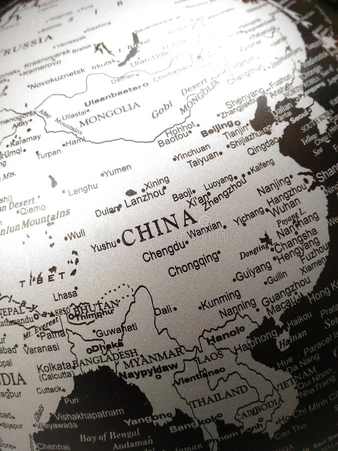Géographie de la carte du monde en noir et blanc photos libres de droits