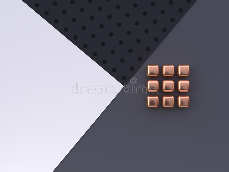 Or géométrique étendu plat de forme de modèle de scène d'abrégé sur noir gris blanc plancher/3d métallique de cuivre rendre illustration libre de droits