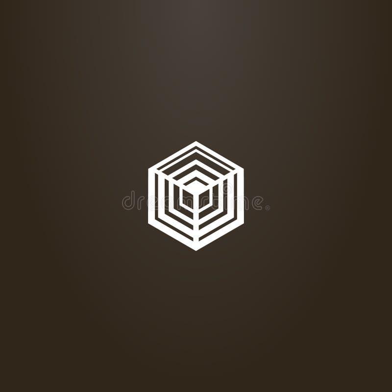 Géométrique signe vecteur de schéma de la structure cubique d'hexagone illustration stock