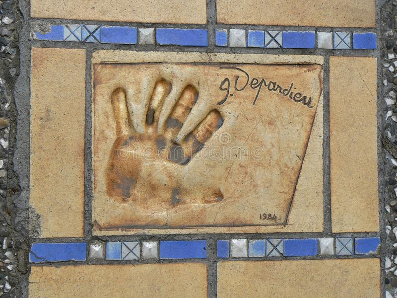 Gérard Depardieu hand print in hollywood sidewalk of fame famous. Symbol stock image